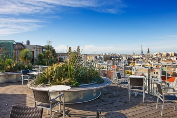 ROOF GARDEN AT THE HOLIDAY INN, RUE DANTON, PARIS: DESIGNERS ERIC OSSART AND ARNAUD MAURIERES: